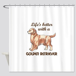 BETTER WITH RETRIEVER Shower Curtain