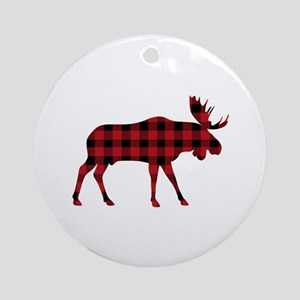 Plaid Moose Animal Silhouette Ornament (Round)