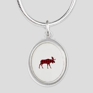 Plaid Moose Animal Silhouette Necklaces