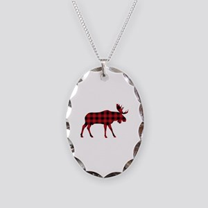 Plaid Moose Animal Silhouette Necklace