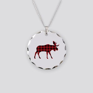 Plaid Moose Animal Silhouette Necklace