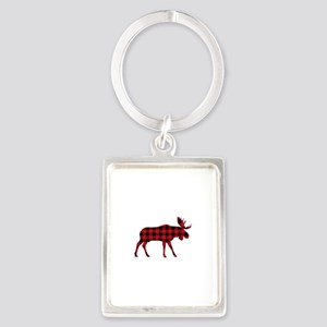 Plaid Moose Animal Silhouette Keychains