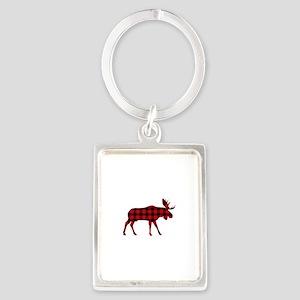 Plaid Moose Animal Silhouette Keychains