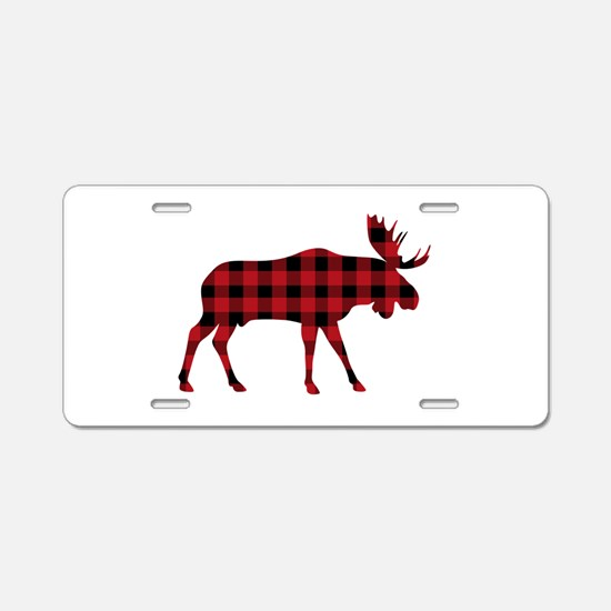 Plaid Moose Animal Silhouette Aluminum License Pla