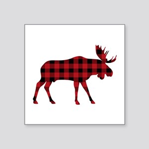 Plaid Moose Animal Silhouette Sticker