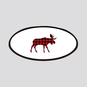 Plaid Moose Animal Silhouette Patches