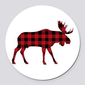 Plaid Moose Animal Silhouette Round Car Magnet