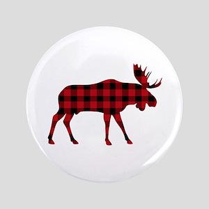 "Plaid Moose Animal Silhouette 3.5"" Button"