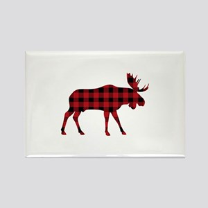 Plaid Moose Animal Silhouette Magnets