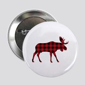 "Plaid Moose Animal Silhouette 2.25"" Button (10 pac"