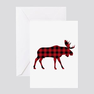 Plaid Moose Animal Silhouette Greeting Cards