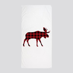 Plaid Moose Animal Silhouette Beach Towel