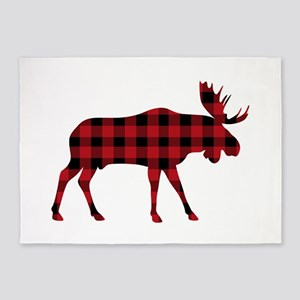 Plaid Moose Animal Silhouette 5'x7'Area Rug