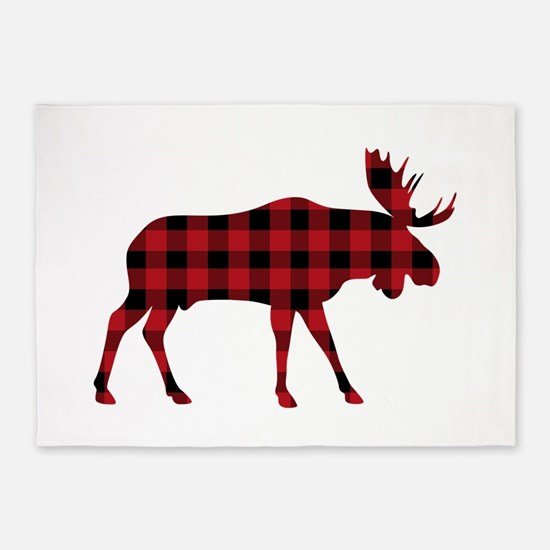 Plaid Moose Animal Silhouette 5'x7'Area Rug