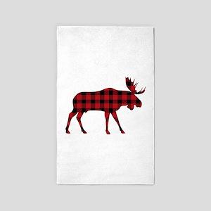 Plaid Moose Animal Silhouette Area Rug