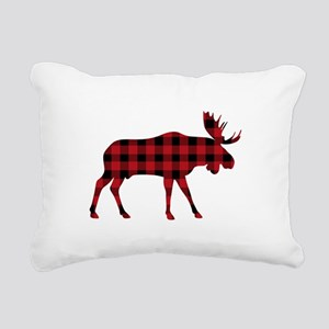 Plaid Moose Animal Silhouette Rectangular Canvas P