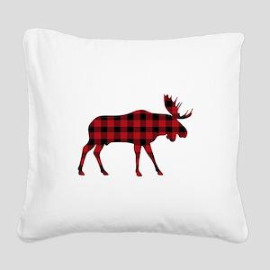 Plaid Moose Animal Silhouette Square Canvas Pillow