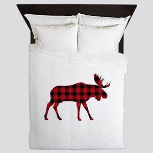 Plaid Moose Animal Silhouette Queen Duvet