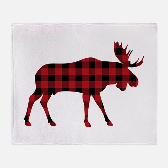 Plaid Moose Animal Silhouette Throw Blanket
