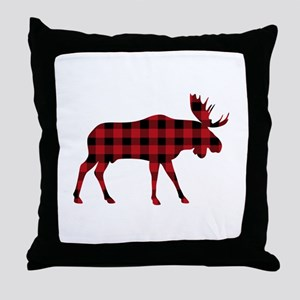Plaid Moose Animal Silhouette Throw Pillow