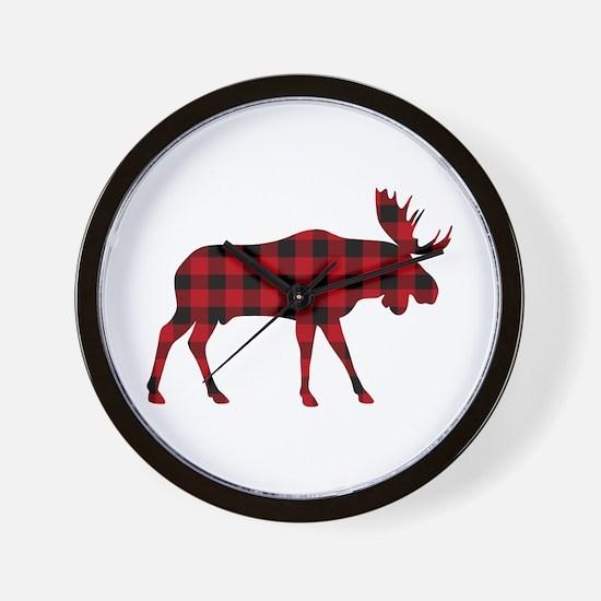 Plaid Moose Animal Silhouette Wall Clock