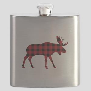 Plaid Moose Animal Silhouette Flask