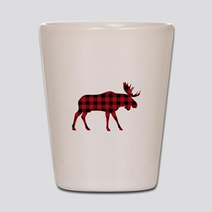 Plaid Moose Animal Silhouette Shot Glass