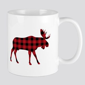 Plaid Moose Animal Silhouette Mugs