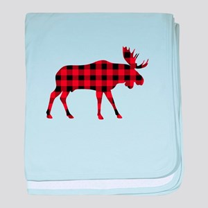 Plaid Moose Animal Silhouette baby blanket