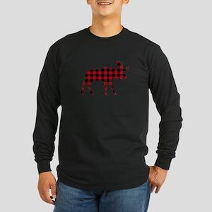 Plaid Moose Animal Silhouette Long Sleeve T-Shirt
