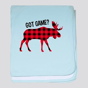 Plaid Moose Animal Silhouette Game baby blanket