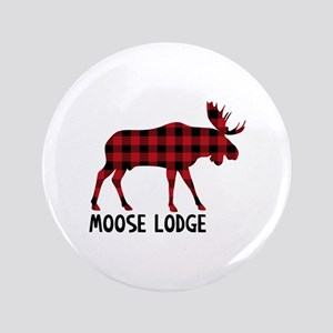 "Plaid Moose Animal Silhouette Lodge 3.5"" Button"