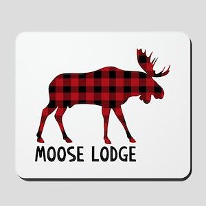 Plaid Moose Animal Silhouette Lodge Mousepad