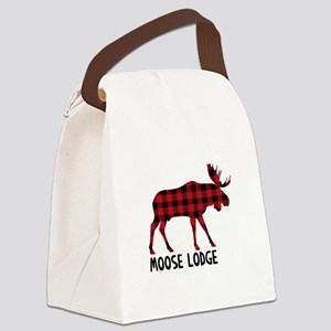 Plaid Moose Animal Silhouette Lodge Canvas Lunch B