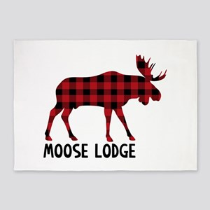 Plaid Moose Animal Silhouette Lodge 5'x7'Area Rug
