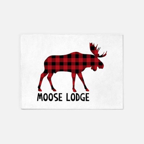 Plaid Moose Animal Silhouette Lodge 5'x7'Area Rug