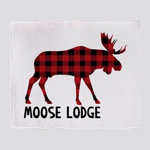Plaid Moose Animal Silhouette Lodge Throw Blanket