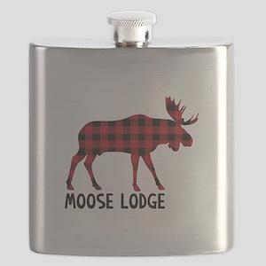 Plaid Moose Animal Silhouette Lodge Flask