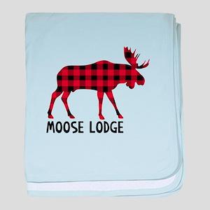 Plaid Moose Animal Silhouette Lodge baby blanket