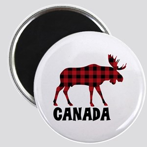 Plaid Moose Animal Silhouette Canada Magnets