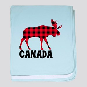 Plaid Moose Animal Silhouette Canada baby blanket