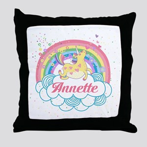Unicorn and Rainbow Personalized Throw Pillow