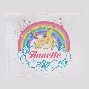 Unicorn and Rainbow Personalized Throw Blanket