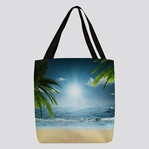Tropical Beach Polyester Tote Bag