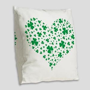 Shamrock Hearts Burlap Throw Pillow