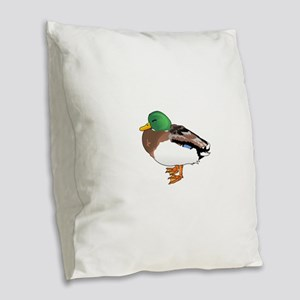 MALLARD SLEEPING Burlap Throw Pillow
