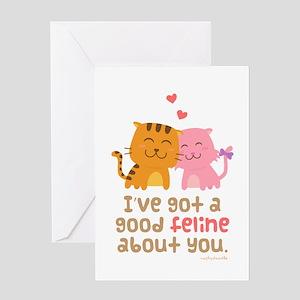 Cute Feline Cartoon Cats in Love Pun Humor Greetin