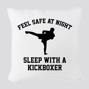 Sleep With A Kickboxer Woven Throw Pillow