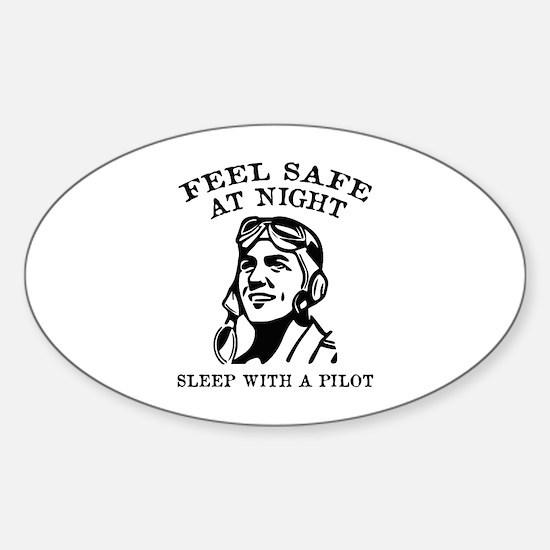 Sleep With A Pilot Sticker (Oval)