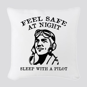 Sleep With A Pilot Woven Throw Pillow